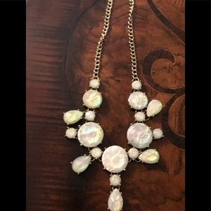 Jewelry - Opal type stone statement necklace gold tone